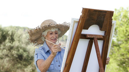 Old woman painting in the park Stock Video Footage