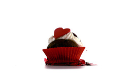 Beautiful valentines cupcakes falling on piles of  Footage