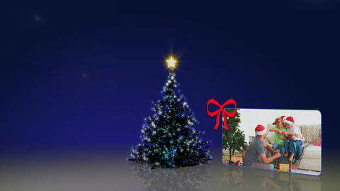 Christmas tree and familys animation Stock Video Footage
