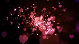 Pink heart confetti and sparks Footage