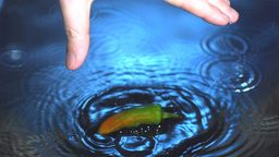Jalapeno chili pepper being dropped into water by Stock Video Footage
