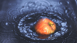 Red apple falling into water Stock Video Footage