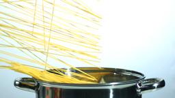 Spaghetti falling into a saucepan Footage