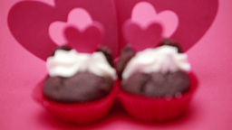 Two valentines cupcakes Footage