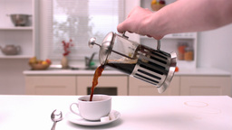 Coffee being poured in the kitchen Footage