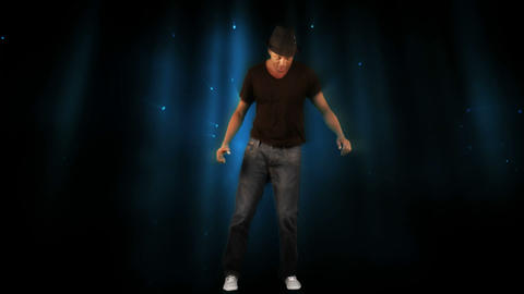 Stylish man dancing on digital background Stock Video Footage