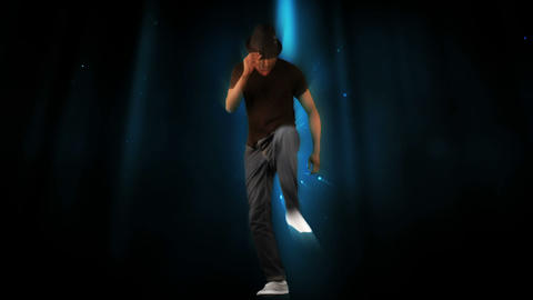 Stylish man dancing on digital background Animation