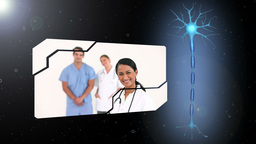 Montage of medical workers with revolving brain introduction Animation