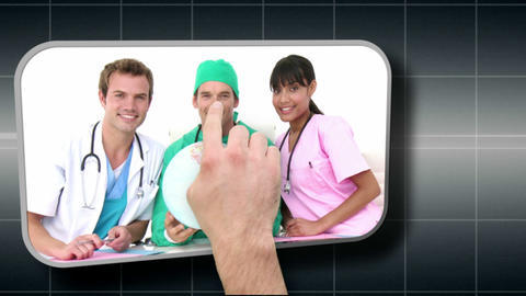Hand selecting various medical images Animation
