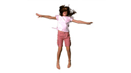 Girl jumping up on the white background Footage