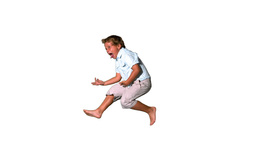 Little boy jumping and shouting on white backgroun Stock Video Footage