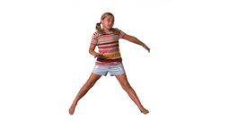 Girl jumping with limbs outstretched on white back Footage