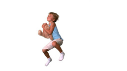 Boy jumping and catching teddy bear on white backg Stock Video Footage
