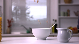 Cereal falling in a bowl Stock Video Footage