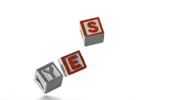 Blocks spelling yes falling over Stock Video Footage