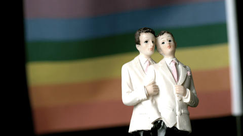 Gay groom cake toppers in front of rainbow flag mo Stock Video Footage