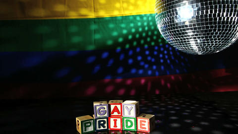 Gay pride blocks at the disco Footage