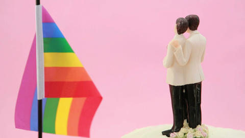 Gay groom cake toppers in front of rainbow flag re Footage