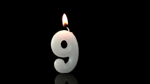 Ninth birthday candle Stock Video Footage