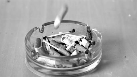 Cigarette falling in ashtray Stock Video Footage