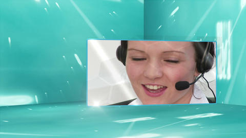 Call centre montage Stock Video Footage