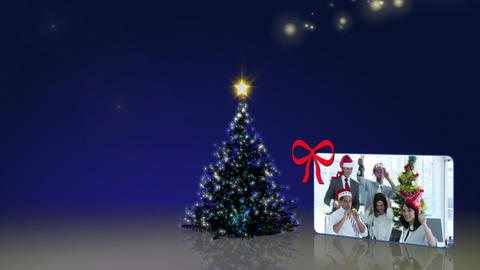 Christmas tree rising with montage of christmas clips Animation