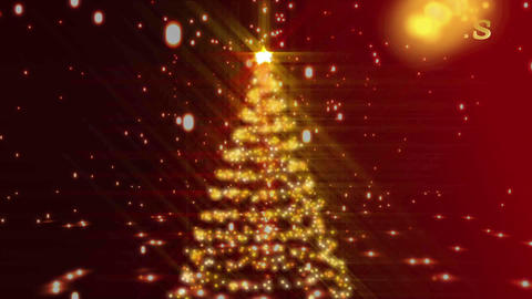 Christmas montage with red and gold introduction Animation