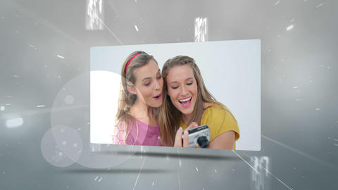 Montage of young people using different technologies Animation
