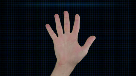 Futuristic hand scan technology Stock Video Footage