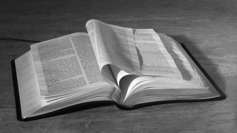 Bible pages turning in the wind in black and white Stock Video Footage