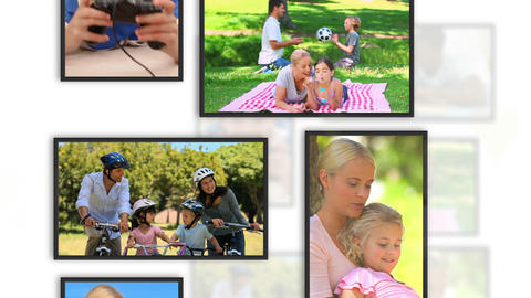 Montage of family clips into frames Animation