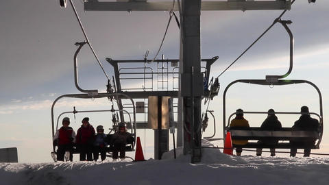 skiers arrive and leave on grouse mountain Footage