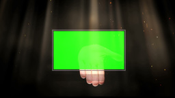 Dynamic hand presents green screens Stock Video Footage