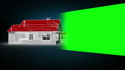 Montage of model house with chroma key space Animation