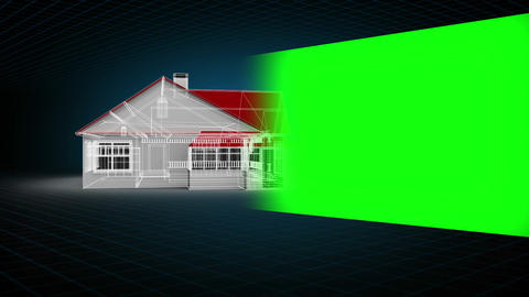 Montage of model house with chroma key space Stock Video Footage
