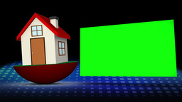 Red model house falling besides a chroma key space Animation
