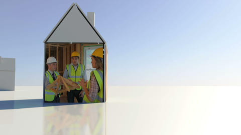 Construction and building montage with copyspace Animation
