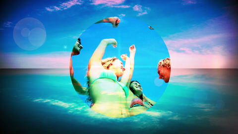 Montage of young people having fun at the beach Animation