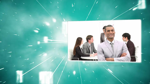 Montage of business colleagues at work with red copy space Animation