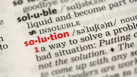 Definition of solution Stock Video Footage