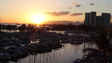 sunset at waikiki yacht harbour Footage