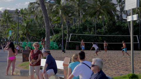 people playing volleyball at waikiki beach Footage