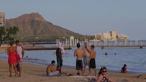 group of fit men talking at waikiki beach - diamon Footage