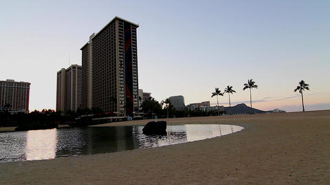 hilton lagoon and diamond head early morning Footage
