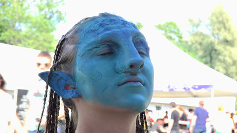 Makeup, mask, Avatar. 4K Footage