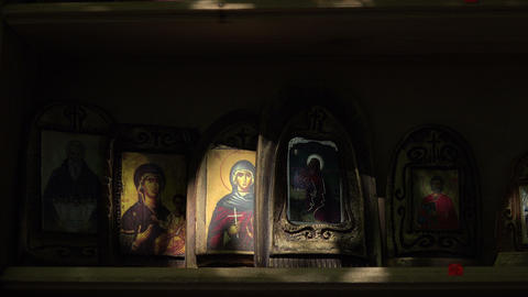 Orthodox icons. 4K Footage