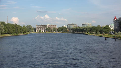Martynov embankment in St. Petersburg. 4K Stock Video Footage