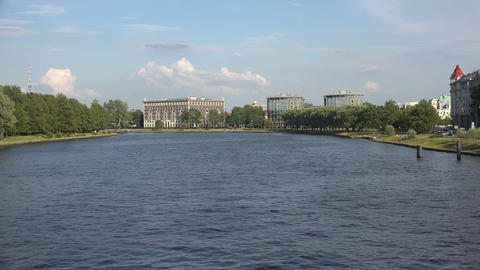Martynov embankment in St. Petersburg. 4K Footage