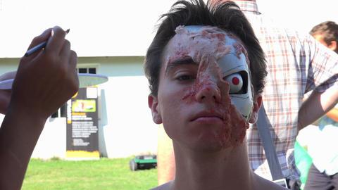 Makeup, mask Cyborg. 4K Footage