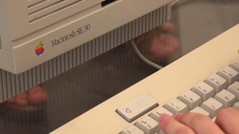 Old computer mac. Apple. 4K Footage